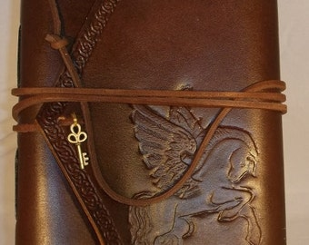 Handmade Leather Journal Pegasys Brown  Made in the USA