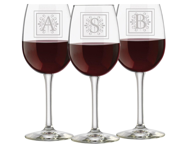 Printed Wedding Wine Glasses : Monogrammed Wine Glasses Personalized Wedding Glasses