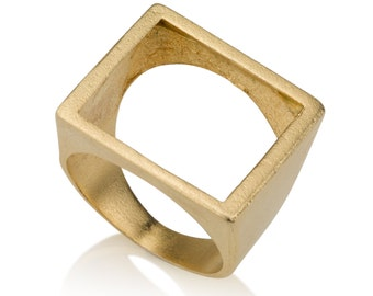 Hollow  Gold Square, Empty gold plated square, square ring, light square ring, urban ring