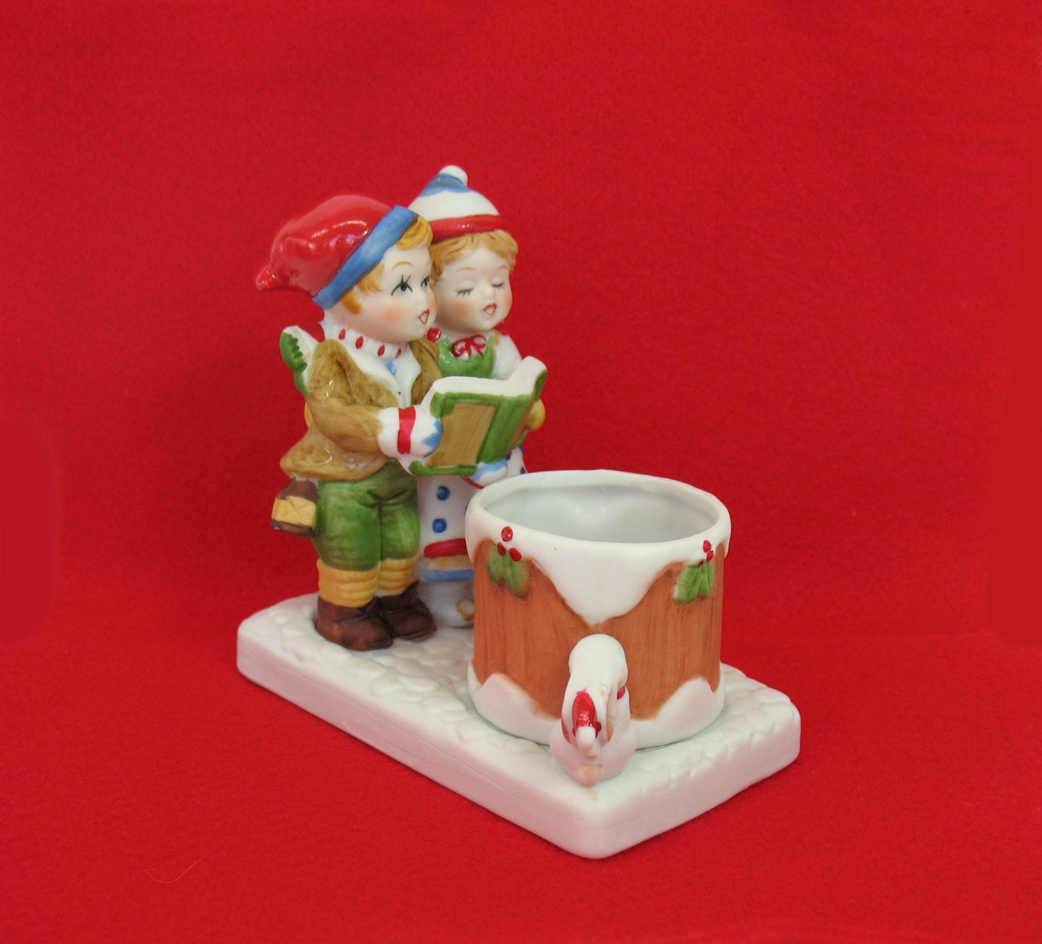 Singing Carolers Candleholders Figurines Vintage By: Christmas Figurine Candle Holder Taiwan Porcelain Statue
