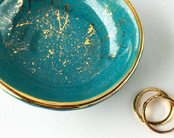Teal and Gold Splatter Ring Dish - Teal Dish, Mother's Day Gift, Wedding Gift, Hostess Gift, Turquoise Pottery
