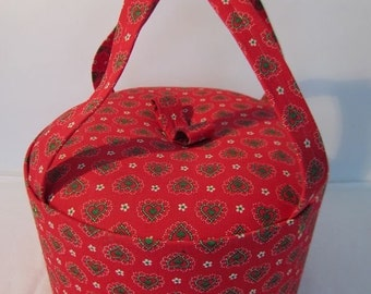 60s sewing box. Around fabric covered. Round. With content! VINTAGE