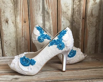 Colored Bridal Shoes Something Blue Teal Aqua Ivory White All Lace Beaded Peep Toe