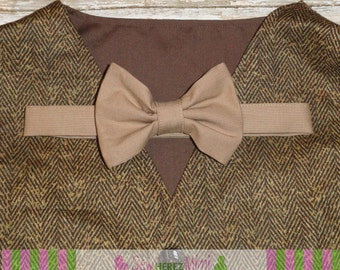 Brown Tweed Herringbone Look Vest Taupe Bow Tie Outfit Infant Toddler Child Sizes thru Youth 10