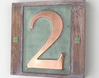"Eco friendly House  number in Copper with oak frame 1 x no. 6""/150mm high in Garamond g"