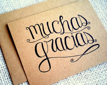 Muchas Gracias Kraft Thank You Cards - Set of 10 Hand Lettered Spanish Language Thank You Notes - Wedding Engagement All Occasion - Espanol