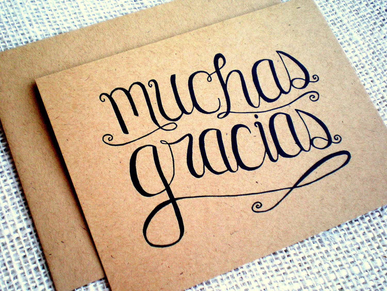 Muchas Gracias Kraft Thank You Cards Set Of 10 Hand Lettered