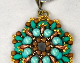 "Beading tutorial ""Sea Foam"" pendant PDF instant download"