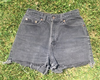 Vintage High Waisted Black Cutoff Shorts by Levis