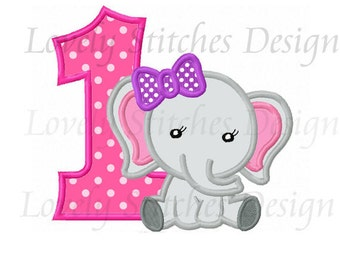 Elephant With Number 1 Applique Machine Embroidery Design NO:0492