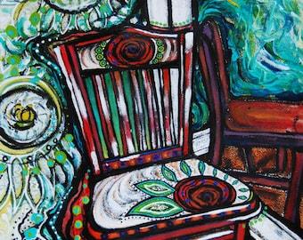 "Chair #4, Original mixed media painting, 15.5"" x 19.75"""