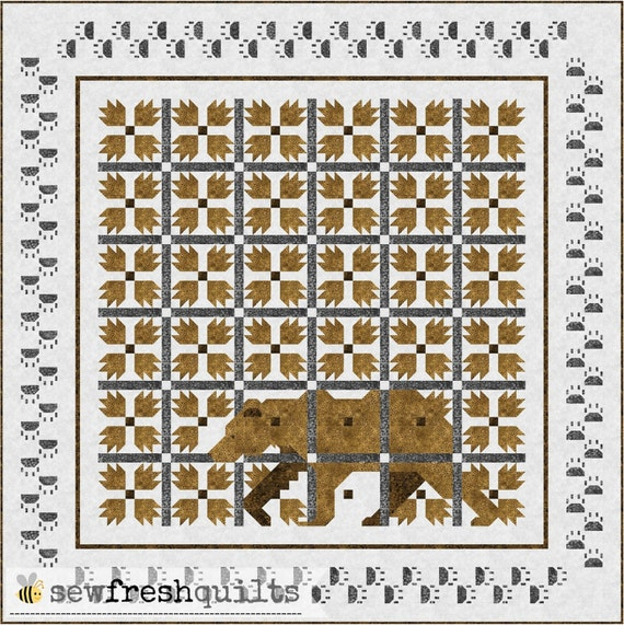 Modernitional Bear Paw Quilt Pattern, PDF, Instant Download, forest animal, bear, woodland, hunter, animal lover, modern patchwork