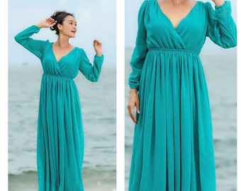 Bridemaids Teal Aqua turquoise green   chiffon long sleeve v neck long maxi dress All size