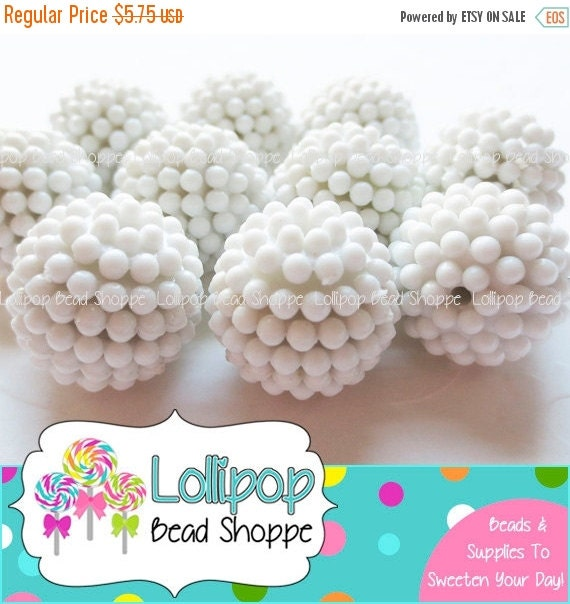 20mm Bead Beads: SALE Berry Beads 20mm Beads WHITE Raspberry By