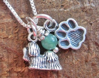 Shih Tzu Mini Paw Print Sterling Silver Necklace (your choice of glass bead)