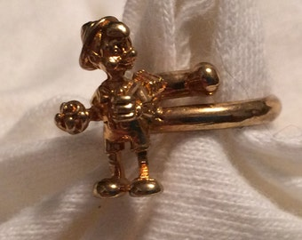Vintage Disney ' Pinocchio ' Ring - Gold over Silver