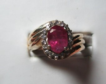 Ladies 1.9ct genuine unheated untreated ruby and .40ct diamond 14kt ring-layaway available