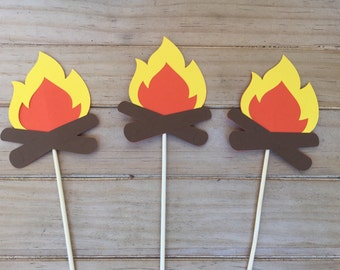 6 piece Campfire Centerpiece picks - Table Decorations - Camping Theme, Birthday Party, Wilderness theme, Fire Centerpiece, Party Decor