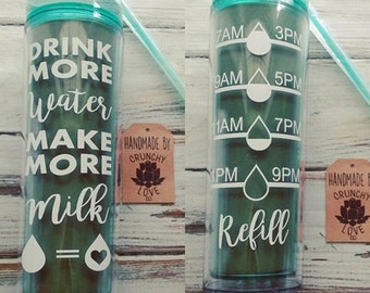 Drink more Water Make More Milk - Water tracker, New mom gift, baby shower gift, breastfeeding, normalize breastfeeding