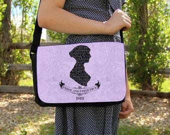 Jane Austen Pride & Prejudice Messenger Bag Shoulder Handbag Gift Book Silhouette