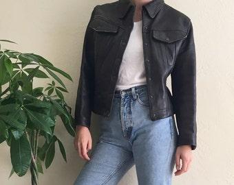 80sItalian Leather Moto Jacket