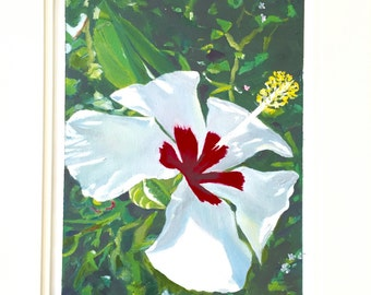 Delicate White -Small Acrylic and Oil (Mix Media) Painting On a Sheet Of Canvas 10x7-Home Decor