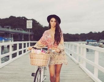 Colourful Bohemian Hippie Short Kaftan Dress Boho