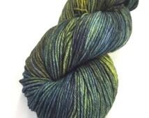 Malabrigo Hojas Forest Greens, Olive, Deep Blue Blend Merino Wool #880 in Rios worsted weight.
