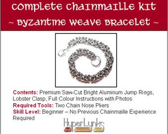 Byzantine Bracelet HyperLynks Chainmaille Kit Chainmail for beginners in bright aluminum non tarnish rings with instructions