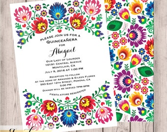Quinceañera Invites, Quinceañera Invitation, Sweet 16, Traditional, Hispanic, Floral, Fiesta, Invitation, 5x7,  Fiesta, Folk, Digital