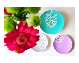 Lace Print Jewellery Dish,  Icecream colours, lace print, clay jewellery dish bowl, trinket bowl, catchall, stocking filler