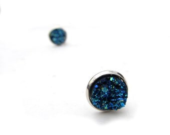 Faux Druzy Clip On Earrings , Midnight Blue Clip Earrings , Sparkly Titanium Earrings