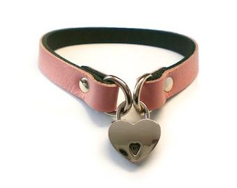 "Baby Pink 1/2"" Leather BDSM Lockable slave sub Collar with small heart shaped padlock /locking sub choker"