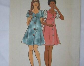 TOO CUTE Vintage 1970s Butterick 3736 Sweetheart mini DRESS Pattern sz Jr 7/8 bust 29 UNcut
