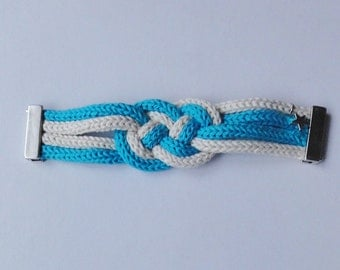 Dana : turquoise and cream cotton plaited bracelet