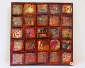 Original Collage Art: Mixed Media Grid Collage in Shades of Brown and Orange
