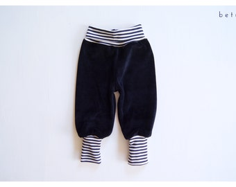 Toddler velour baggy pant dark blue with striped cuffs