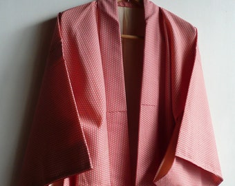 "Japanese vintage kimono - wool - ""asanoha (hemp leaf)"" pattern - red and off-white - WhatsForPudding #885"