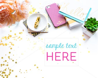 ON SALE Party Styled Photography, Stock Photography Mockups, Gold White and Pink, Mockup Photography, Mockup with Phone, File25