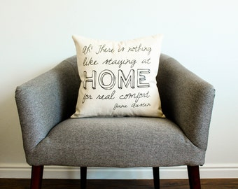 "Jane Austen ""Home"" Quote Pillow - 2 Styles"