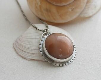 Sterling Silver & Peach Agate Pendant