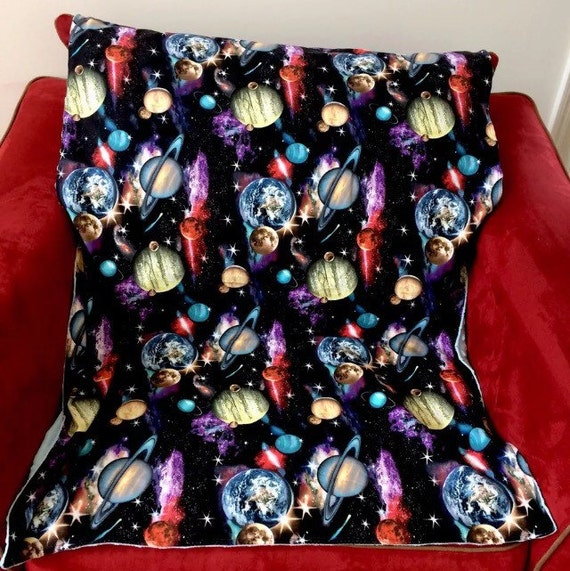 Baby blanket space in black with light blue minky fleece for Space minky fabric