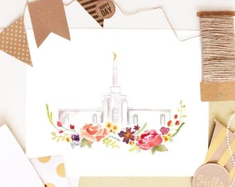 LDS Temple Watercolor (New Mexico)