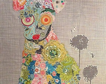 Fiberworks Laura Heine Collage EMERSON Dog Quilt Pattern 21 x 39