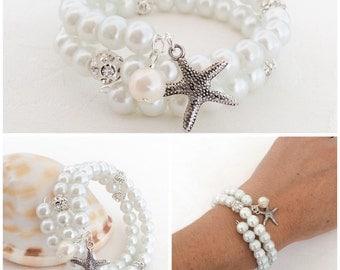 Pearl Bracelet, White Pearl Bracelet, Starfish Bracelet, Bridesmaid Bracelet, Beach Wedding