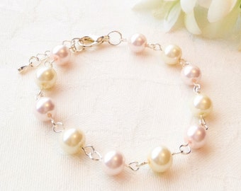Blush & Ivory Pearl Bracelet Pink and Ivory Jewelry Bridesmaid Jewelry Pink Bracelet Pearl Bracelet Wedding