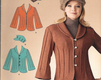 Simplicity It's So Easy Pattern 2808 TUCKED JACKET & HAT Misses Sizes 8 10 12 14 16 18