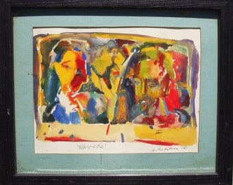 Miniature Gouache Painting on Paper/ Abstract/ Modern/ People