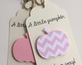 Little Pumpkin Baby Shower, Little Pumpkin Favor Tags, Pumpkin Baby Favor Tags, A Little Pumpkin is on his way, Custom Pumpkin Tags