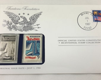 Bill of Rights Stamp, Mailing Envelope, Franklin Mint Silver Ingot Bicentennial Collection